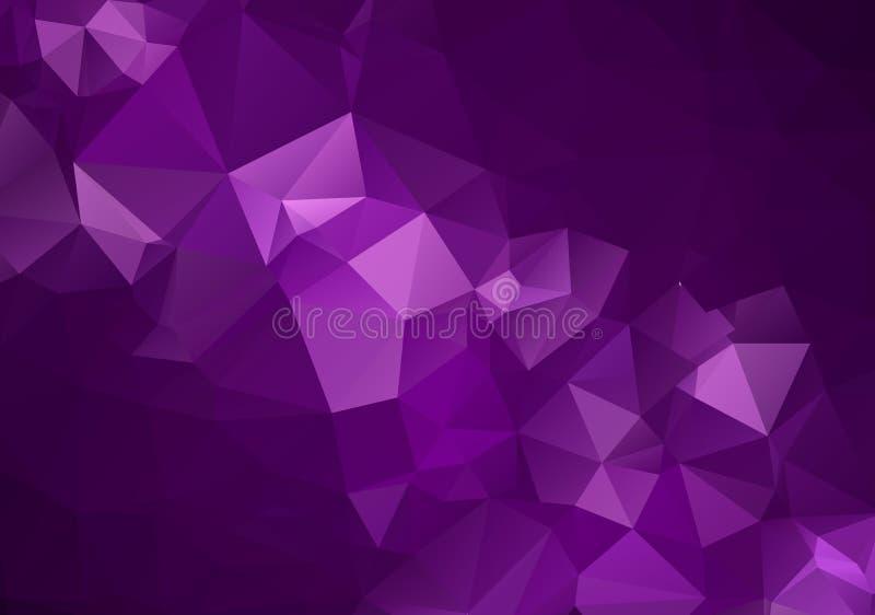 Abstracte Donkere Purpere vector Lage polykristalachtergrond Het patroon van het veelhoekontwerp Lage polyillustratie, lage veelh stock illustratie