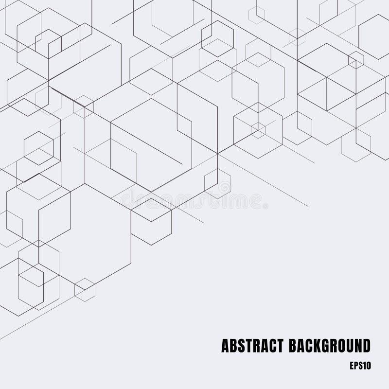 Abstracte dozen zwarte lijnen op grijze achtergrond De moderne geometrische vorm van technologie digitale patronen Hexagon meetku stock illustratie