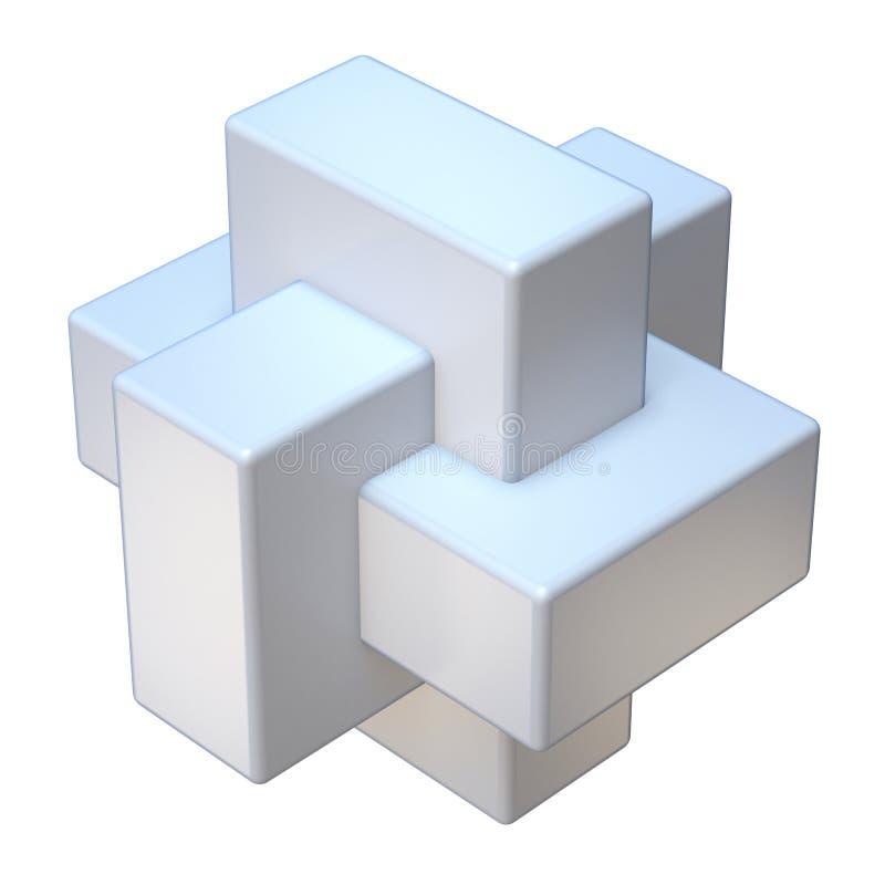 Abstracte drie 3D kubusvorm stock illustratie