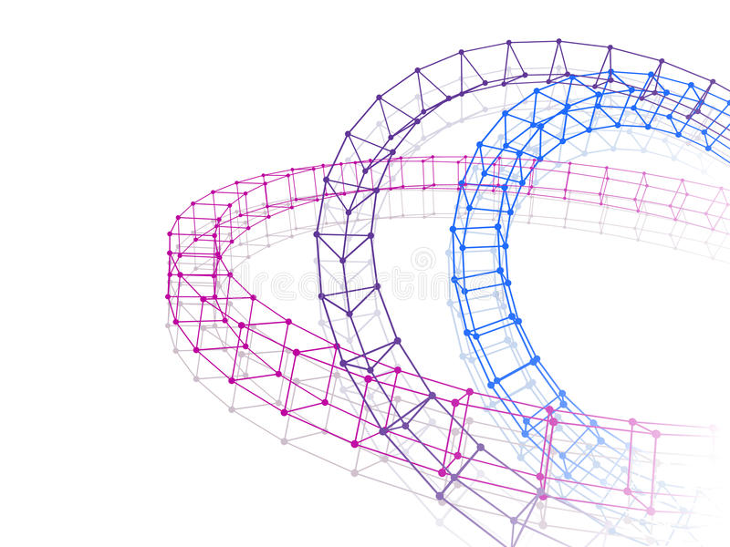 Abstracte drie torus verbonden lijnenpunten stock illustratie