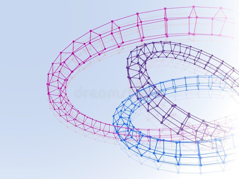 Abstracte drie torus verbonden lijnenpunten op blauw stock illustratie