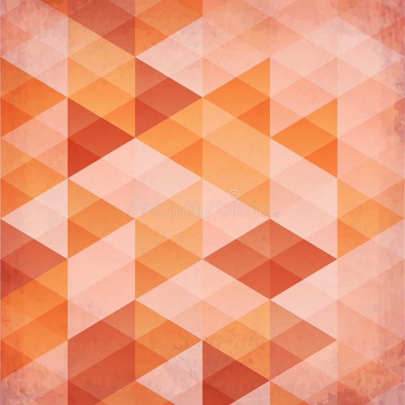 Abstracte driehoeken uitstekende oranje achtergrond vector illustratie