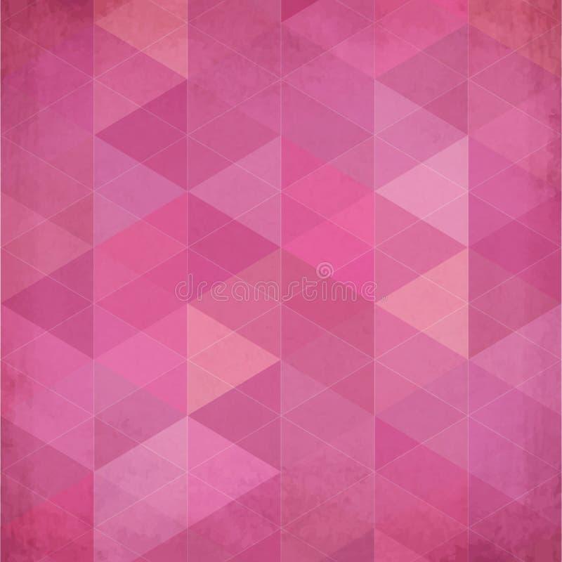 Abstracte driehoeken uitstekende vector roze achtergrond royalty-vrije illustratie
