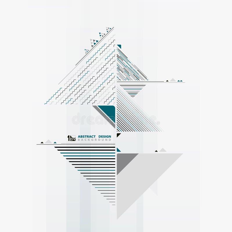 Abstracte driehoeks golvende decoratie van geometrische samenstelling in blauw kleurenontwerp Illustratie vectoreps10 royalty-vrije illustratie