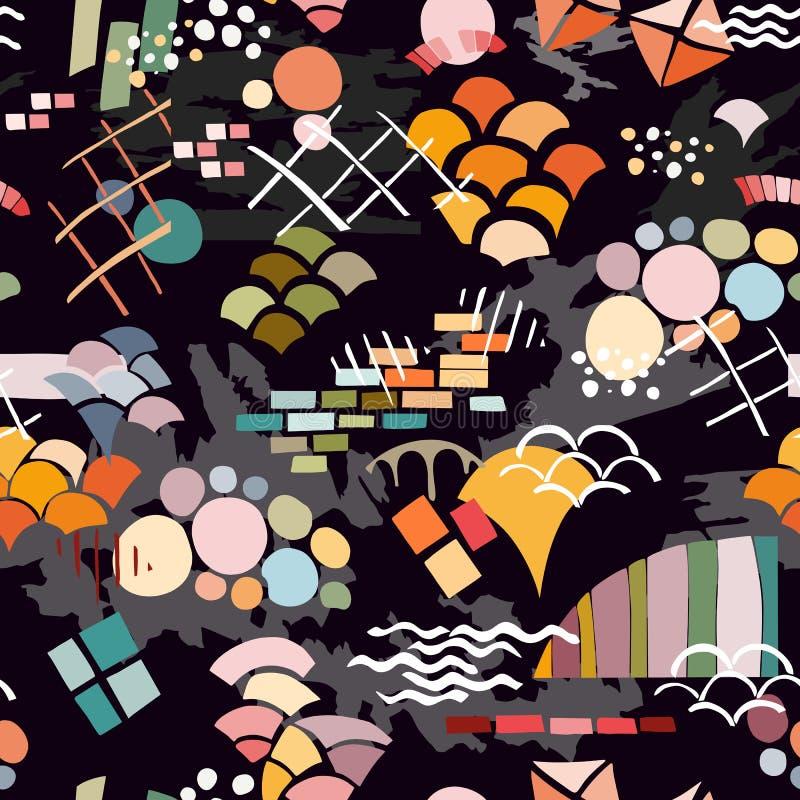 In abstracte druk Naadloos patroon met verschillende kleurrijke vormen en texturen op zwarte achtergrond stock illustratie