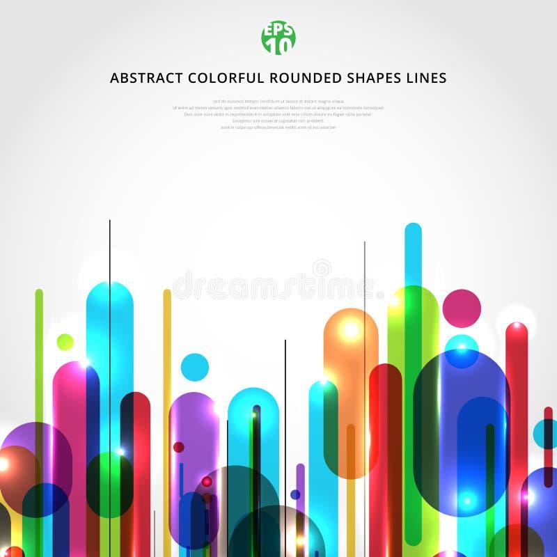 Abstracte dynamische die samenstelling van diverse kleurrijke rond gemaakte het ritme witte van vormenlijnen moderne stijl wordt  royalty-vrije illustratie