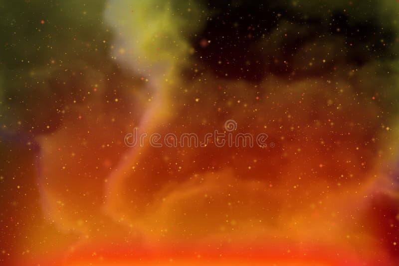 Abstracte dynamische fantasie gele ruimte en sterren kleurrijke achtergrond met vonken en wolken royalty-vrije stock fotografie