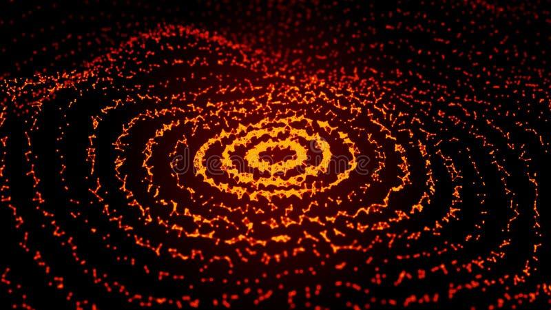 Abstracte dynamische golf van punten en lijnen Netwerk van heldere die deeltjes door lijnen worden verbonden Grote Gegevens het 3 stock illustratie