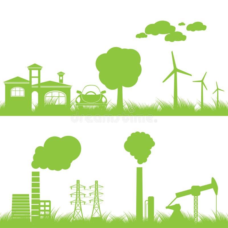 Abstracte ecologie, de industrie en aardachtergrond stock illustratie