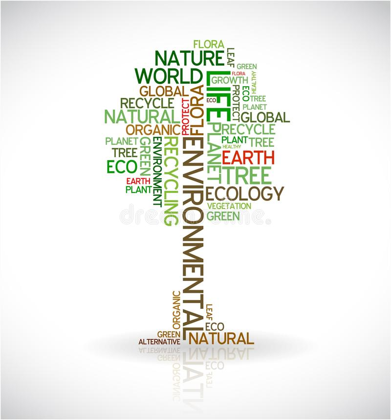Abstracte ecologieaffiche - boom stock illustratie