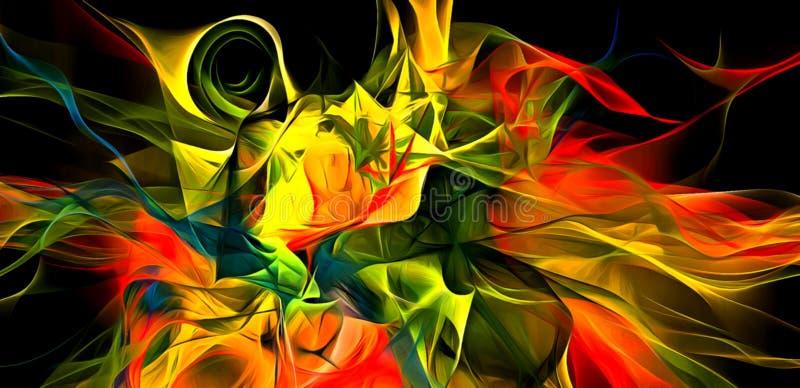 Abstracte elektriserende lijnen, rokerig fractal patroon, het digitale werk van de illustratiekunst van het teruggeven van chaoti stock illustratie
