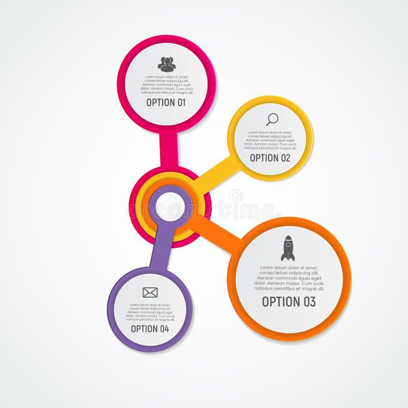 Abstracte Elementen van Grafiek, Diagram met 4 Stappen, Opties Busin royalty-vrije illustratie