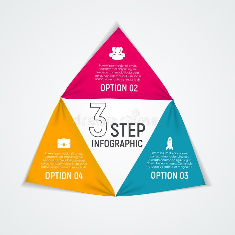 Abstracte Elementen van Grafiek, Diagram met 3 Stappen, Opties Busin vector illustratie