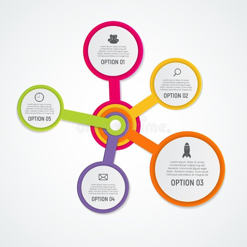 Abstracte Elementen van Grafiek, Diagram met 5 Stappen, Opties Busin vector illustratie
