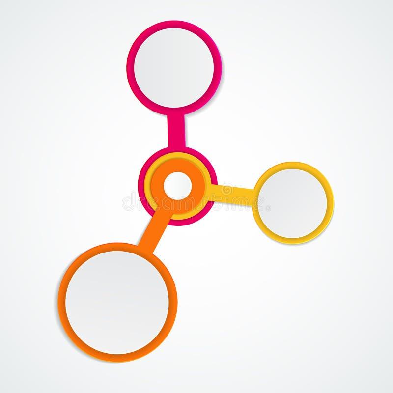 Abstracte Elementen van Grafiek, Diagram met 3 Stappen, Opties Busin stock illustratie