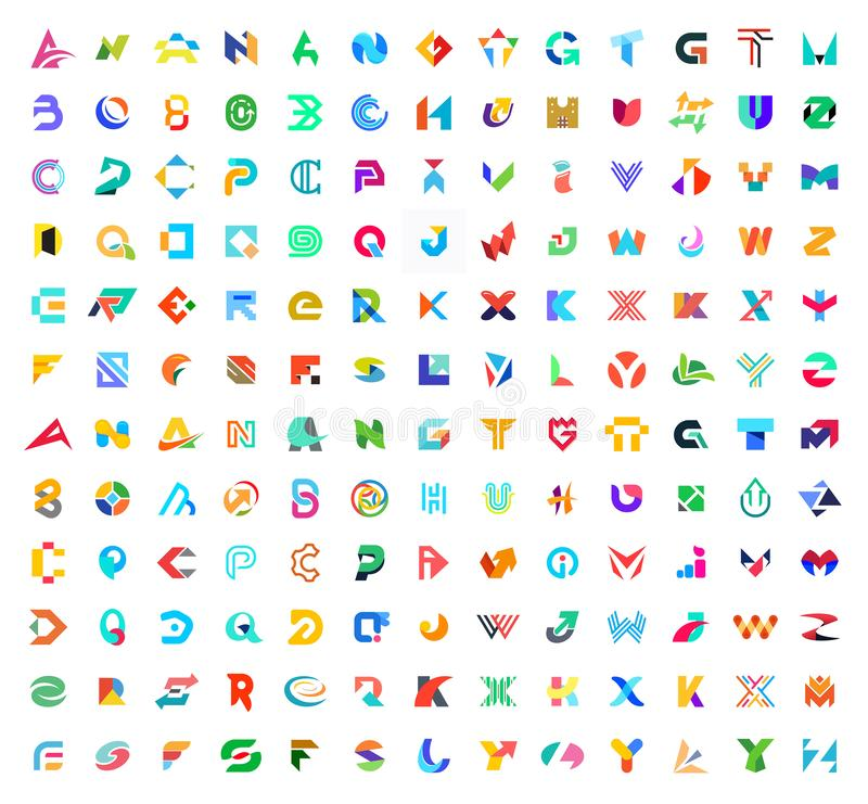 Abstracte emblemen megainzameling met brieven stock fotografie
