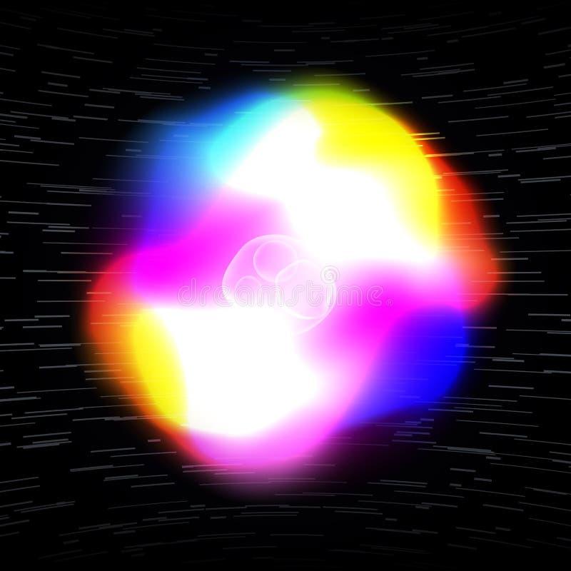 Abstracte energie vectorachtergrond met het gloeien lichteffect Machtsenergie, lichtgevende het glanzen kosmische lichten vector illustratie