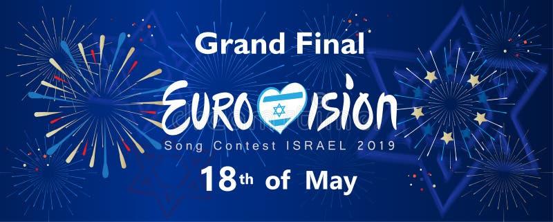 2019 Abstracte Eurovisie-van het de Muziekfestival van de Liedwedstrijd Internationale het vuurwerkachtergrond stock illustratie