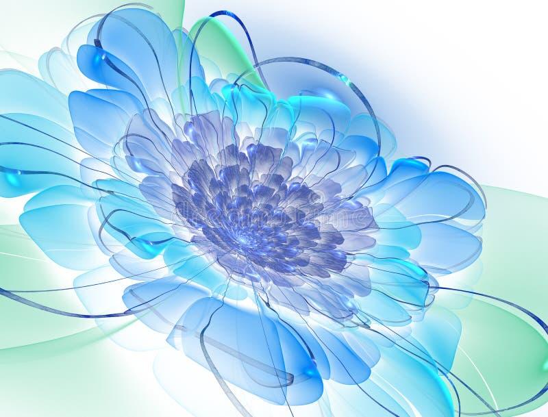 Abstracte exotische fractal achtergrond, spiraalvormige bloem met gloeiende kern met geweven bloemblaadjes stock illustratie