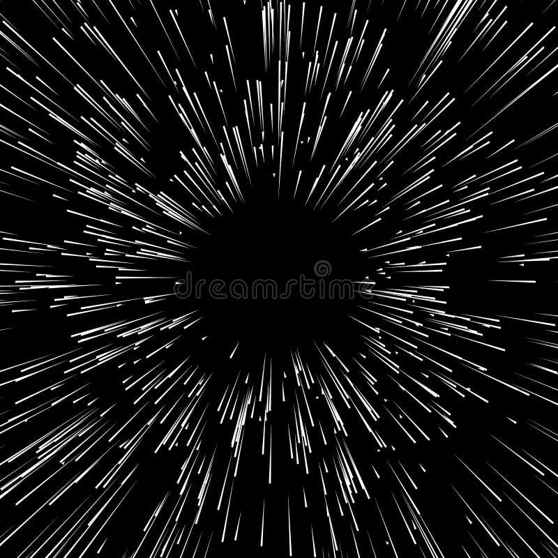 Abstracte explosie, het barsten effect die, radiaal, gespannen lijn uitstralen vector illustratie