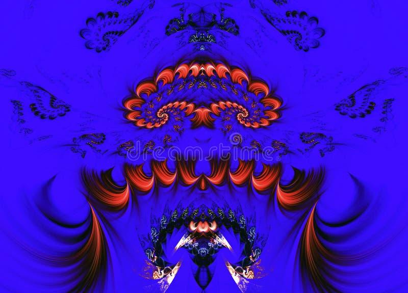 Abstracte fantastische achtergrond van fractals op blauwe achtergrond vector illustratie