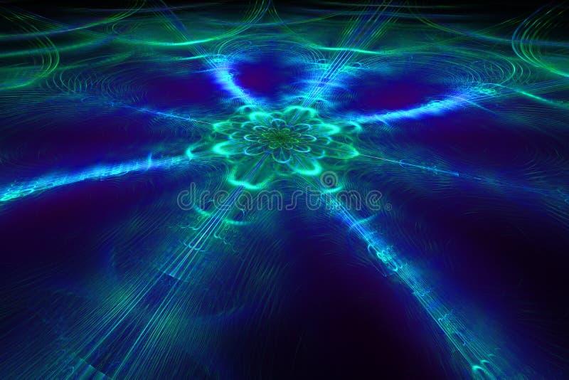 Abstracte fantastische ijsbloem in donkere ruimte royalty-vrije stock afbeelding