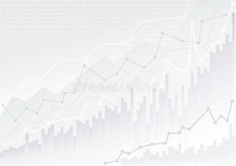 Abstracte financiële grafiek met de grafiek van de tendenslijn en aantallen in effectenbeurs Modelmalplaatje Klaar voor Uw Ontwer vector illustratie