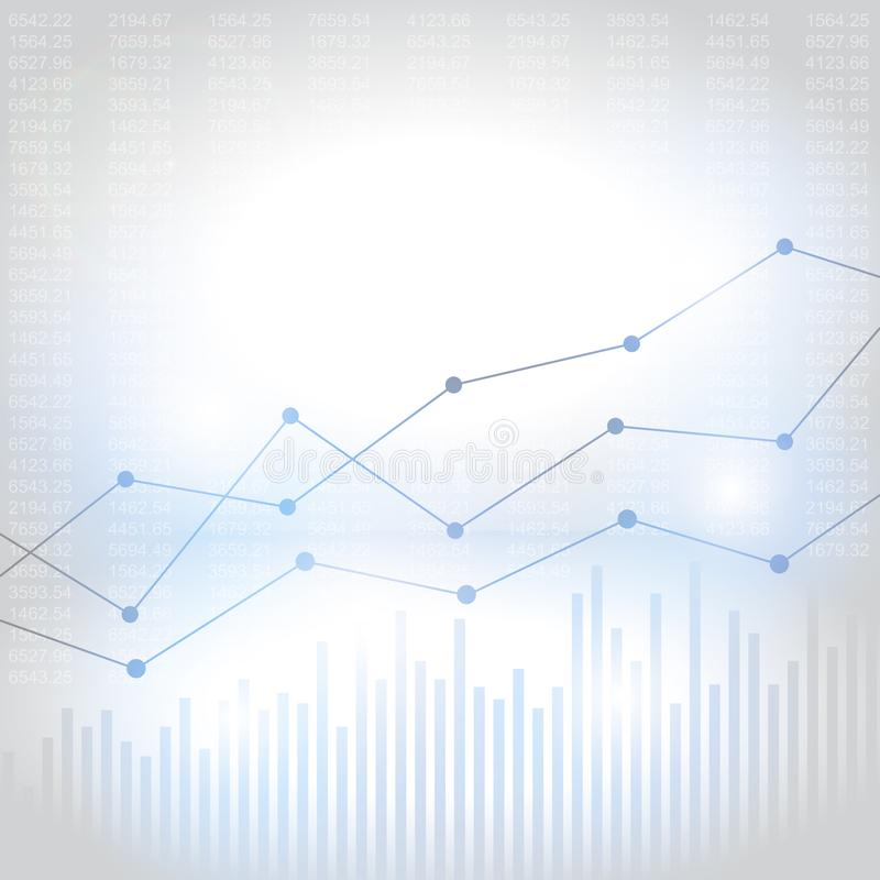 Abstracte financiële grafiek met uptrend lijngrafiek stock illustratie