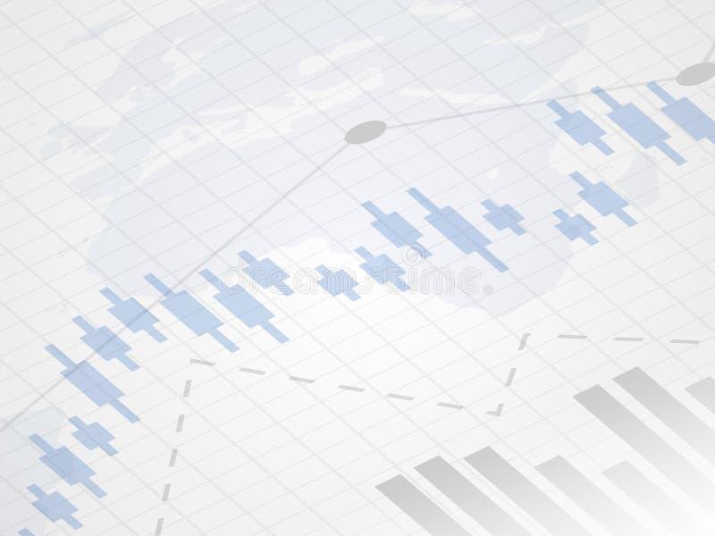 Abstracte financiële grafiek met uptrend lijngrafiek De grafiek van de kaarsstok van investering die op wereldkaart als achtergro royalty-vrije illustratie