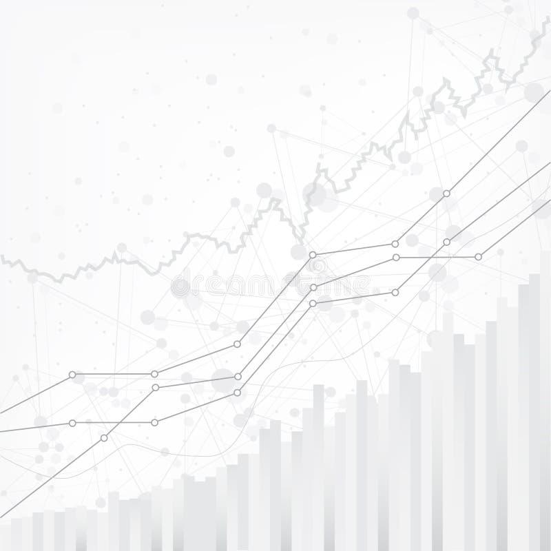 Abstracte financiële grafiek met uptrend lijngrafiek in effectenbeurs op grijs vectorontwerp als achtergrond vector illustratie