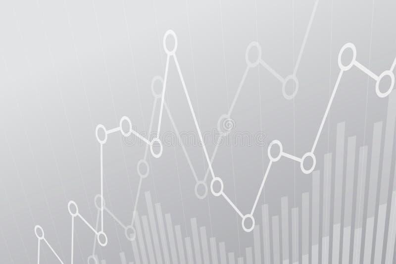 Abstracte financiële grafiek met uptrend lijngrafiek op grijze achtergrond royalty-vrije illustratie