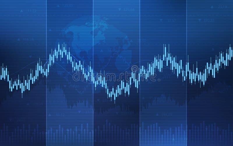 Abstracte financiële kandelaargrafiek met lijngrafiek en globaal op achtergrond van de gradiënt de blauwe kleur royalty-vrije illustratie