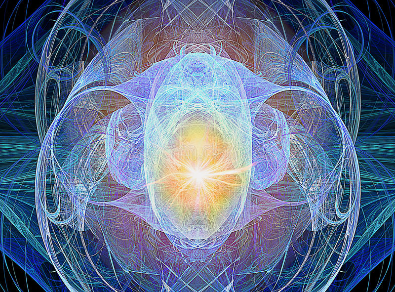 Abstracte fractal achtergrond met ineengestrengelde draden en het gloeien licht in het centrum stock illustratie