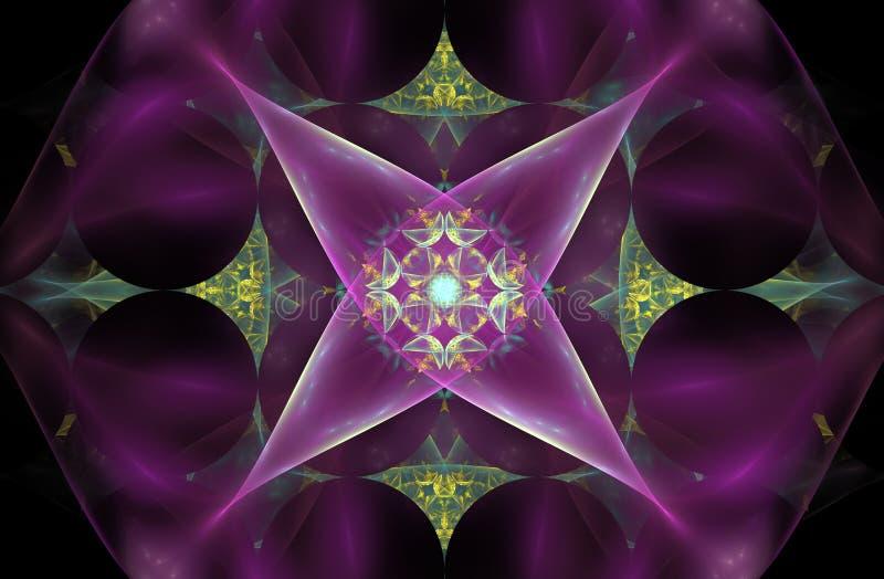 Abstracte fractal bloem in de vorm van een vier-gericht symbool op een roze achtergrond met een patroon in het centrum stock illustratie
