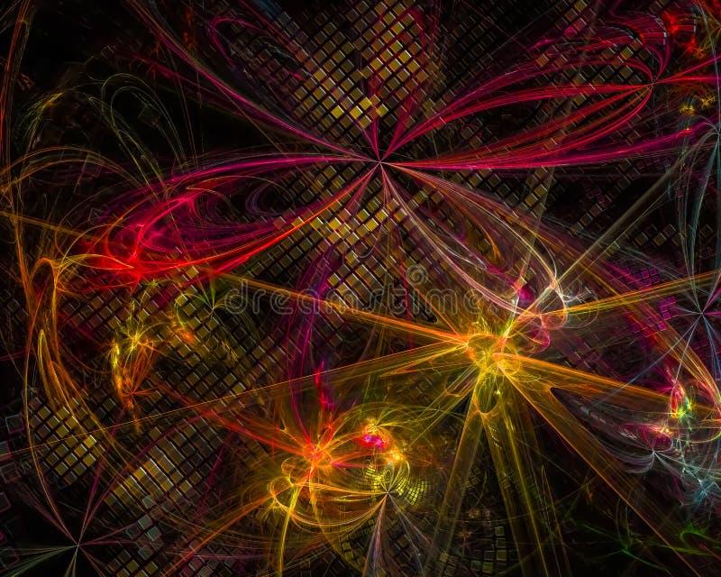 Abstracte fractal, de dynamische afkomstig zijnde donkere surreal fantastische explosie van het de verbeeldingsontwerp van de exp vector illustratie