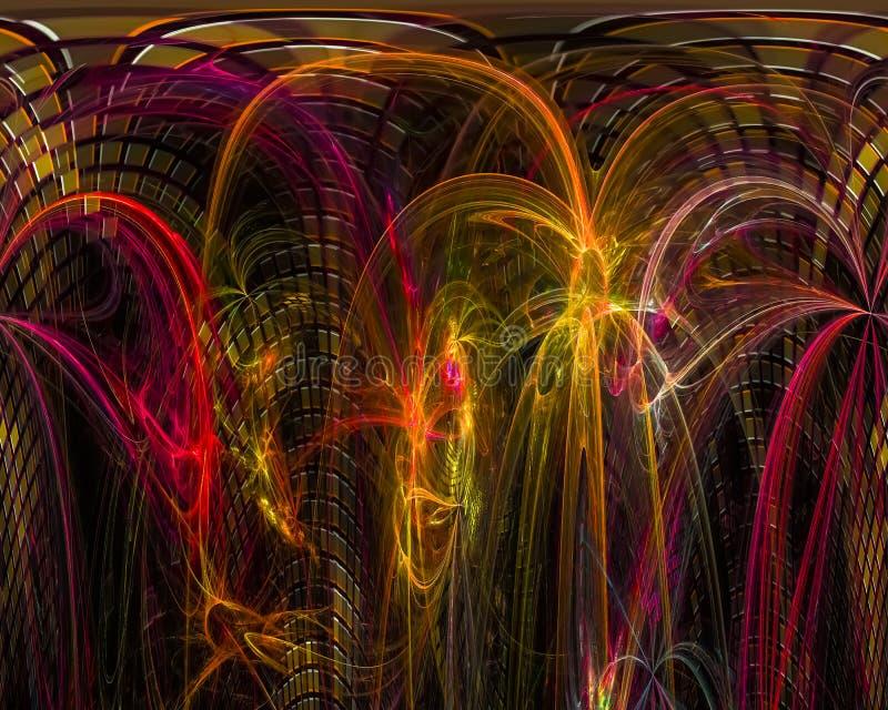 Abstracte fractal, de dynamische afkomstig zijnde effect donkere surreal fantastische explosie van het de verbeeldingsontwerp van royalty-vrije illustratie