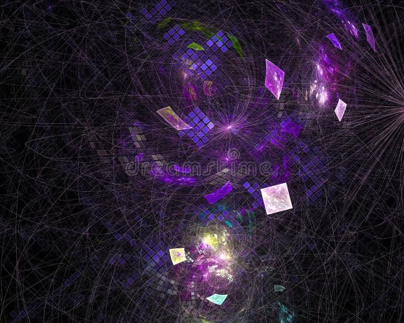 Abstracte fractal, de dynamische effect donkere surreal fantastische explosie van het de verbeeldingsontwerp van de explosiefanta stock illustratie