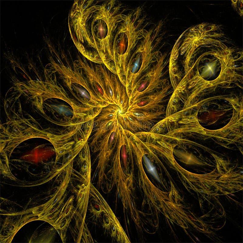 Abstracte fractal de spiralen romantische vormen van de kunst donkere gele mysticus stock illustratie