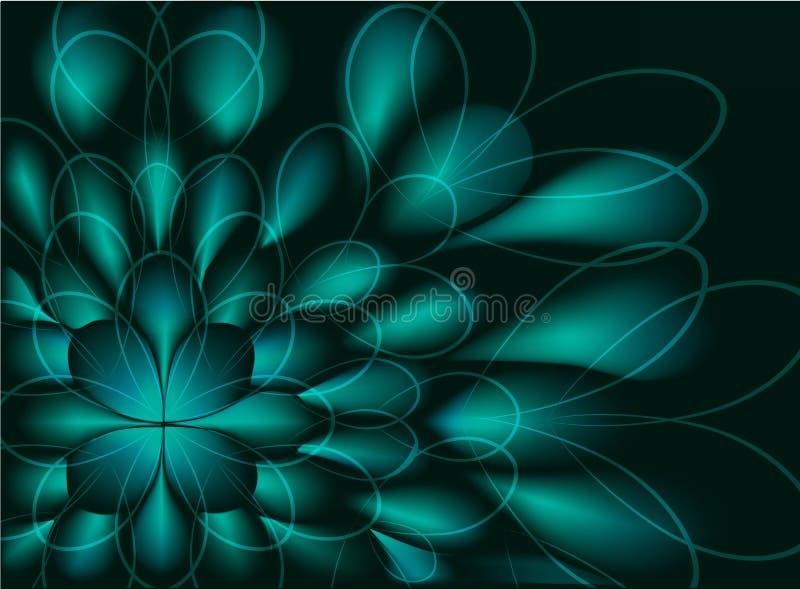 Abstracte fractal die op een groene bloem op zwarte achtergrond lijken EPS10 illustratie vector illustratie