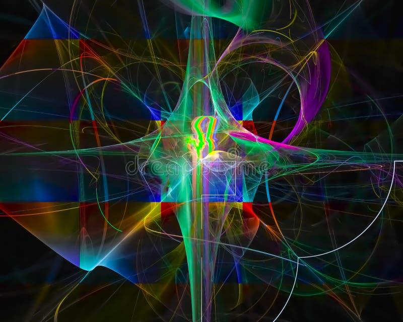 Abstracte fractal, magische de elegantiegolf van de krommestroom, stroom vector illustratie