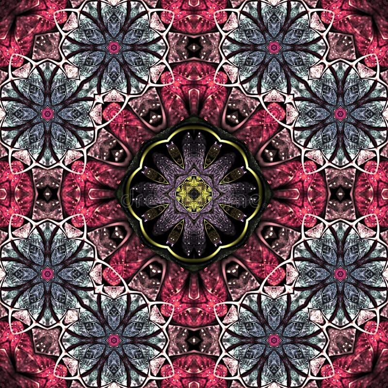 Abstracte fractal mandala met bloemen stock illustratie