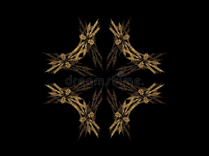 Abstracte fractal met gouden patroon vector illustratie