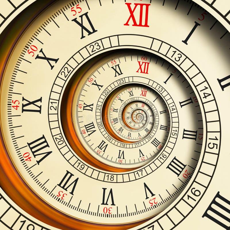 Abstracte fractal van hoge resolutie Antieke oude spiraalvormige klokken spiraal De textuurfractal van de horlogeklok ongebruikel vector illustratie