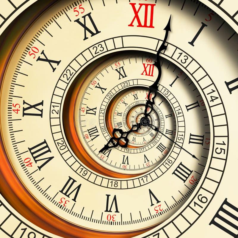 Abstracte fractal van hoge resolutie Antieke oude spiraalvormige klokken spiraal De textuurfractal van de horlogeklok ongebruikel royalty-vrije illustratie