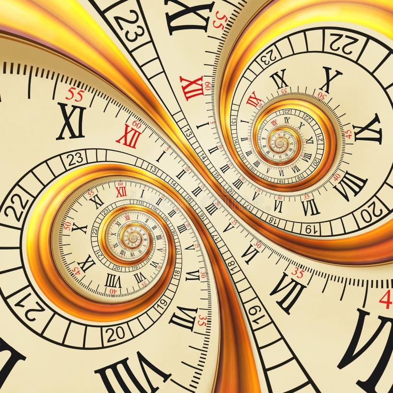 Abstracte fractal van hoge resolutie Antieke oude spiraalvormige klokken spiraal De textuurfractal van de horlogeklok ongebruikel stock illustratie