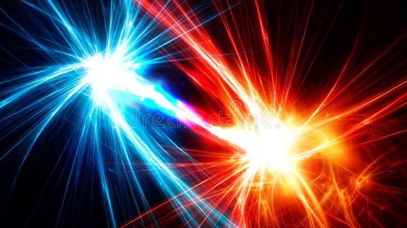 Abstracte fractals met energiestroom tussen hen royalty-vrije illustratie
