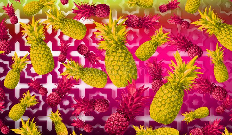 Abstracte fruitachtergrond, ananas stock foto's