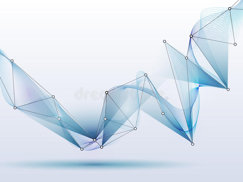 Abstracte futuristisch-molecules en golf digitale technologie royalty-vrije illustratie