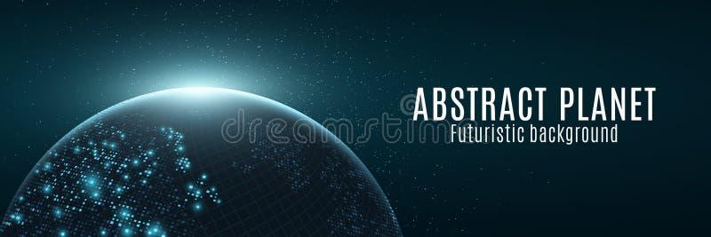 Abstracte futuristische aarde Gloeiende kaart van vierkante punten Moderne Achtergrond Ruimtesamenstelling Blauwe gloed De banner stock illustratie