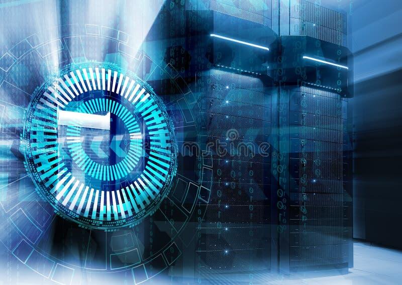 Abstracte futuristische achtergrond op dicht omhoog modern binnenland van serverruimte, Super Computer royalty-vrije stock foto's